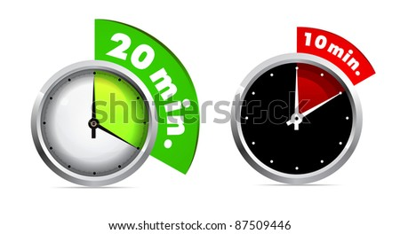 10 and 20 minutes timer - stock vector