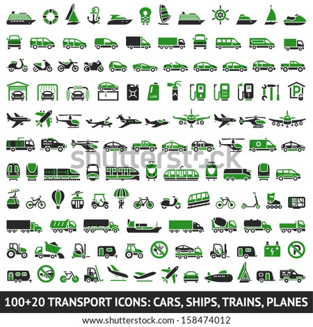 100 AND 20 Transport green icons, vector illustrations, silhouettes isolated on white background - stock vector
