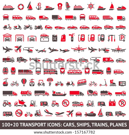 100 AND 20 Transport icon, red and gray - stock vector