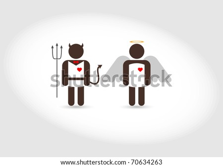 """""""Angel and Devil"""" good and evil - stock vector"""