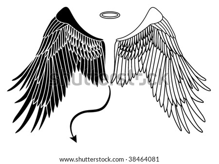 angel and devil wings - stock vector