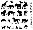 20 Animal Black Silhouette Vector Illustrations - stock vector