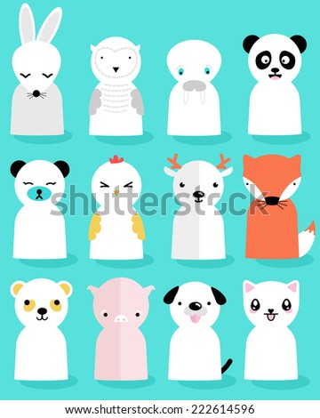 12 Animals - stock vector