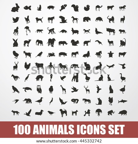 100 animals icons set vector. 100 animals illustrations set vector.