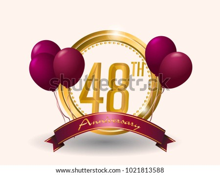 Anniversary Card Design Template Elegant Stock Vector