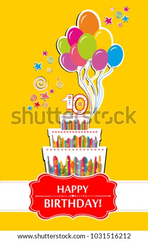 10 anniversary happy birthday greeting card stock vector royalty happy birthday greeting card celebration yellow background with number ten m4hsunfo