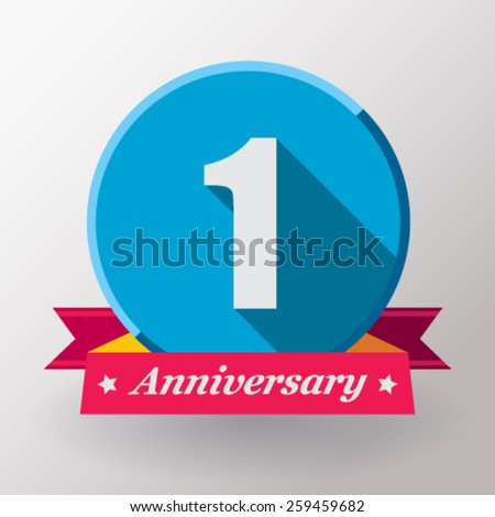 1 Anniversary   label with ribbon. Flat design. - stock vector