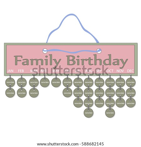 Anniversary Reminder Plaque Template Paper Wood Stock Vector