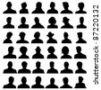36 Anonymous Mugshots - stock vector