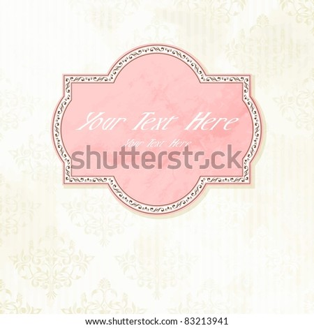 Antique pink on white wedding label(eps10); jpg version also available - stock vector