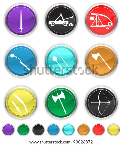antique weapons,easy to edit or re size,each color icon is set on a different layer - stock vector