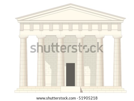 antiquities greek temple,vector without gradient - stock vector