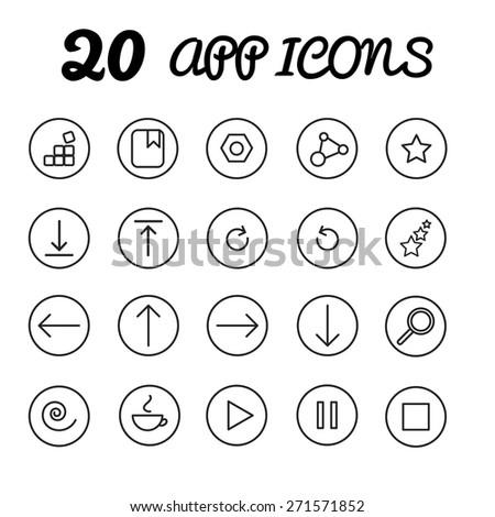 20 app icons in vector, eps - stock vector