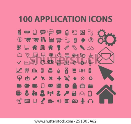 100 application, mobile, smartphone, interface isolated design flat icons, signs, illustrations vector set on background - stock vector