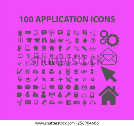 100 application, mobile, smartphone isolated icons, signs, illustrations concept set on background. vector - stock vector