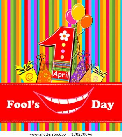 1 april. Fool's Day. Vector illustration  - stock vector