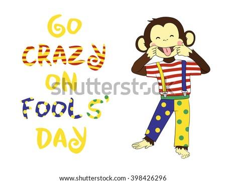 1 April Fools day. April fool prank. Funny cartoon All Fools Day card, banner. - stock vector