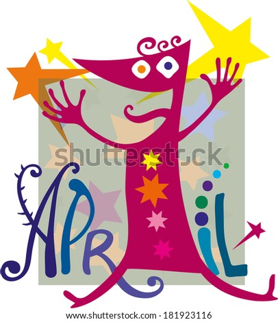 1 April Fools' Day Number one with eyes wide smiles - stock vector