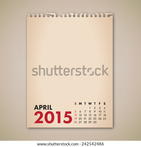 2015 April Old Note Paper Calendar Vector  - stock vector