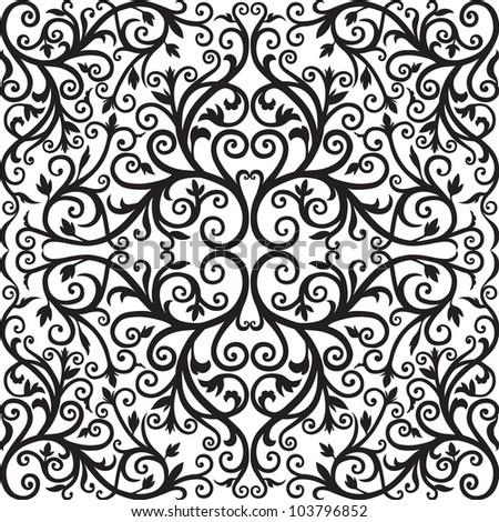 Arabic floral pattern. Black graphics. Vector. - stock vector