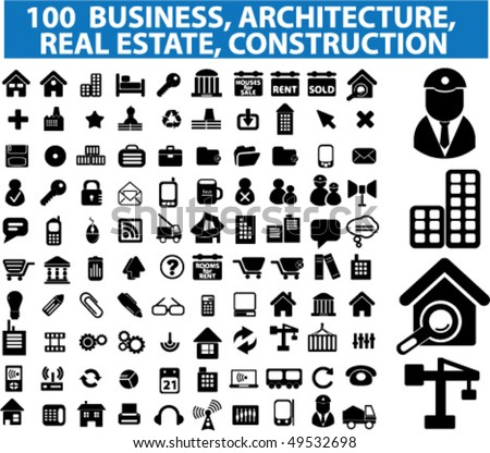 100 architecture, real estate, construction business signs. vector - stock vector