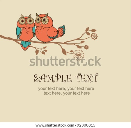 ?ard with two owls - invitation for party or wedding