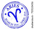 """ARIES"" Star sign rubber stamp illustration - stock photo"