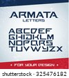 'Armata letters' modern font. Latin alphabet letters. Alphabet. Modern geometric font for advertising, title or logo design. Futuristic font. - stock vector