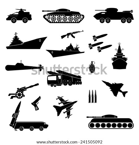Army. Icons military in a vector. - stock vector