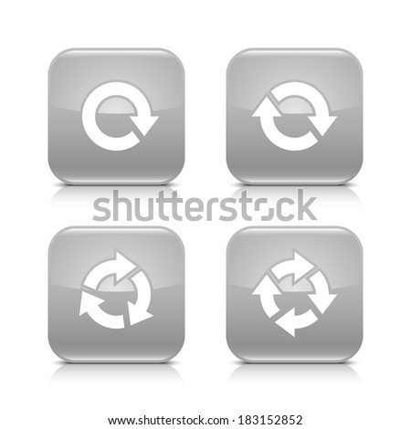 4 arrow gray icon. White repeat, reload, refresh, rotation sign. Set 04. Rounded square web button with black shadow, gray reflection on white background. Vector illustration design element in 8 eps - stock vector