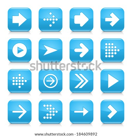 16 arrow icon set 01. White sign on blue rounded square button with gray reflection, black shadow on white background. Glossy style. Vector illustration web design element save in 8 eps - stock vector