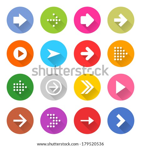 16 arrow icon set 01 (white sign on color). Circle web button on white background. Simple minimalistic mono flat long shadow style. Vector illustration internet design graphic element 10 eps - stock vector