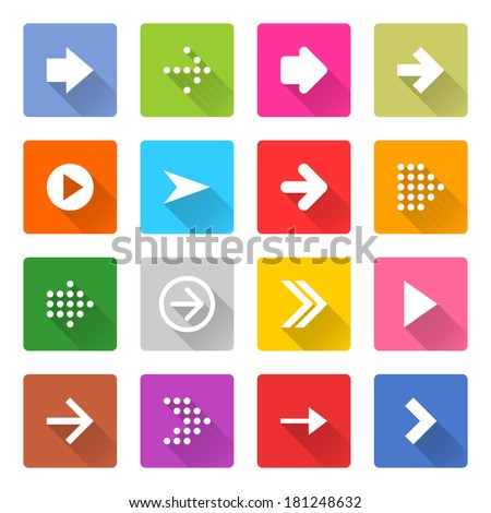 16 arrow icon set 01 (white sign on color). Square web button on white background. Simple minimalistic mono flat long shadow style. Vector illustration internet design graphic element 10 eps - stock vector