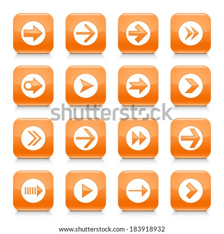 16 arrow icon set 03. White sign on orange rounded square button with gray reflection, black shadow on white background. Glossy style. Vector illustration web design element save in 8 eps - stock vector