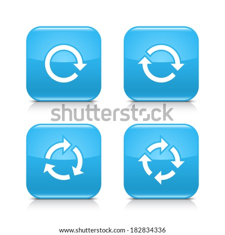 4 arrow icon. White repeat, reload, refresh, rotation sign. Set 01. Blue rounded square web button with black shadow, gray reflection on white background. Vector illustration design element in 8 eps - stock vector