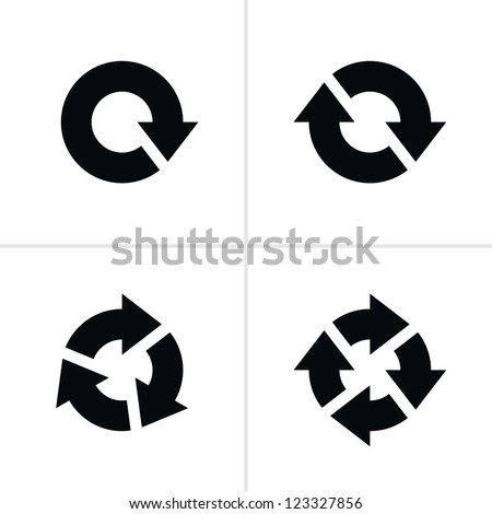 4 arrow pictogram refresh reload rotation loop sign set. Volume 04. Simple black icon on white background. Modern mono solid plain flat minimal style. Vector illustration web design elements 8 eps - stock vector