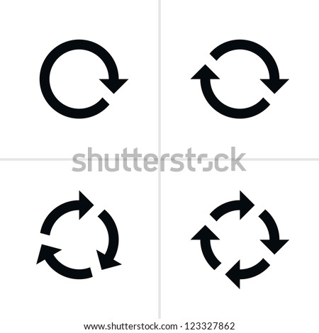 4 arrow pictogram refresh reload rotation loop sign set. Volume 02. Simple black icon on white background. Modern mono solid plain flat minimal style. Vector illustration web design elements 8 eps - stock vector