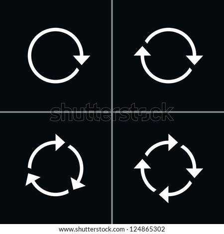 4 arrow pictogram refresh reload rotation loop sign set. Volume 01 - White Version. Simple icon on black background. Mono solid plain flat minimal style. Vector illustration web design elements 8 eps - stock vector