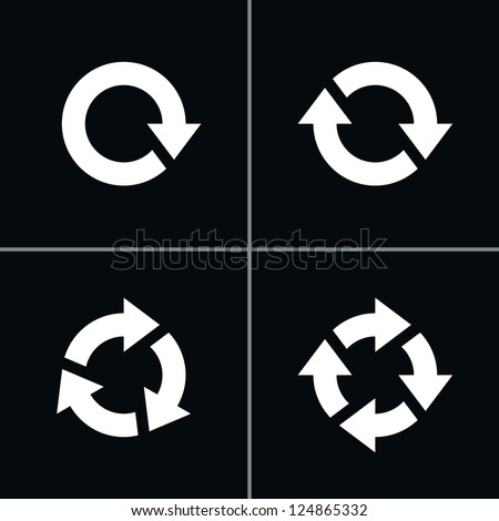 4 arrow pictogram refresh reload rotation loop sign set. Volume 03 - White Version. Simple icon on black background. Mono solid plain flat minimal style. Vector illustration web design elements 8 eps - stock vector