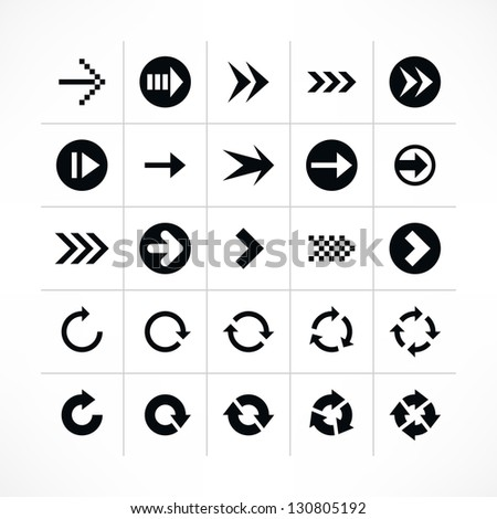25 arrow sign icon set 04 (black color). Modern simple pictogram minimal, flat, solid, mono, monochrome, plain, contemporary style. Vector illustration web internet design elements saved in 8 eps - stock vector