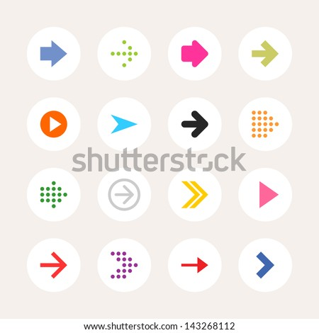 16 arrow sign icon set. Color on white. Set 01. Solid plain monochrome flat tile. Simple round shape internet button. Contemporary modern metro style. Web design elements vector illustration 8 eps - stock vector