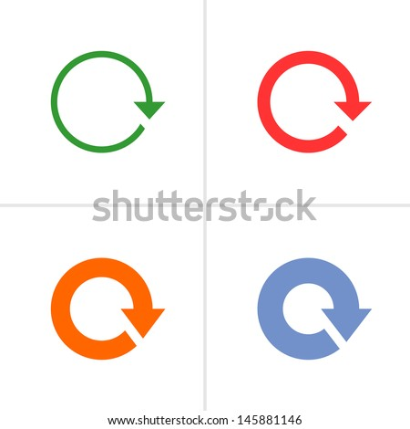 4 arrow sign rotation reset reload refresh pictogram set 01. Simple color icon on white background. Mono solid plain flat minimal style. Vector illustration web design elements 8 eps - stock vector