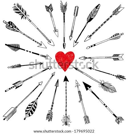 20 arrows and heart - stock vector