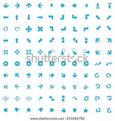 100 Arrows icons, blue on white background  - stock vector