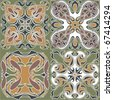 4 art nouveau wallpapers - stock vector