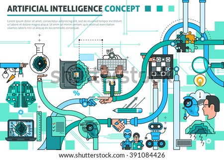 Artificial intelligence concept line composition with communication symbols flat vector illustration  - stock vector
