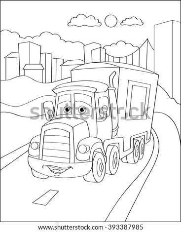 Artoon Truck Car In City Coloring Page Illustration Book Outdoor Sport Theme