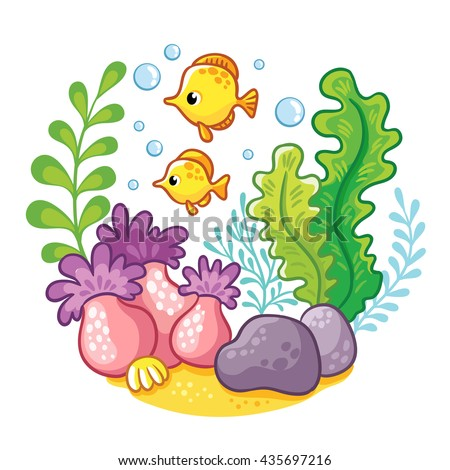 ?artoon underwater life.  Vector illustration. Sea, fish, algae, corals.Cartoon concept of wildlife in the ocean. - stock vector
