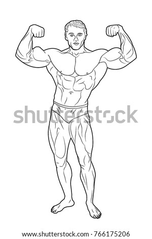 Athlete male weightlifter. Bodybuilding. Advertising fitness sports. Beautiful and strong muscles. Silhouette, coloring, sketch, sketch, health. Powerful, strong man