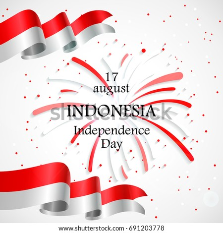 17 august indonesia happy independence day stock vector hd royalty indonesia happy independence day greeting card waving indonesian waving flags with firework m4hsunfo